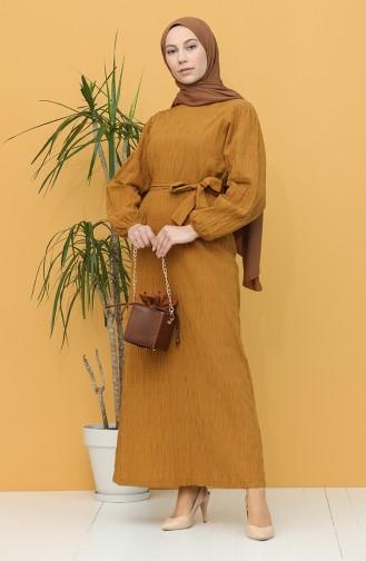 Kuşaklı Elbise 5361-06 Hardal