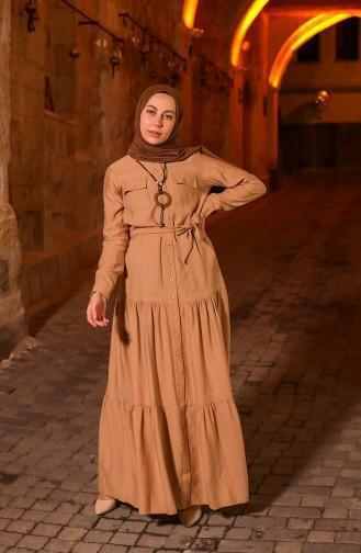 فستان عسلي 8301-09