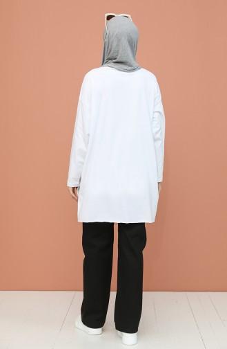 Oversize Baskılı Tunik 4008-03 Beyaz 4008-03