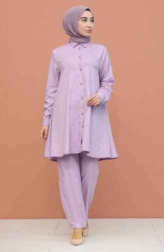 Düğme Detaylı Tunik Pantolon İkili Takım 1417-03 Lila
