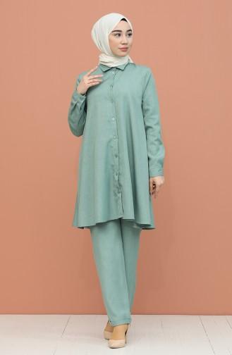 Düğme Detaylı Tunik Pantolon İkili Takım 1417-04 Mint Yeşili
