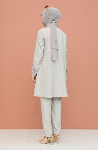 Düğme Detaylı Tunik Pantolon İkili Takım 1417-05 Gri
