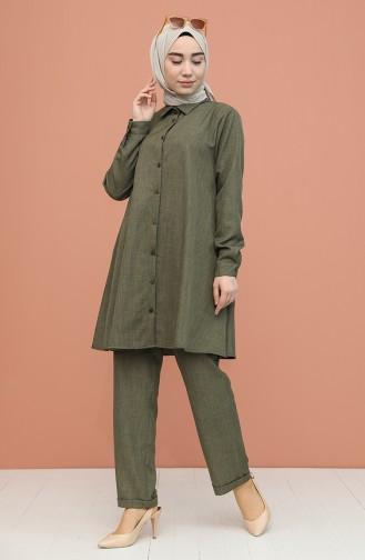 Düğme Detaylı Tunik Pantolon İkili Takım 1417-08 Haki
