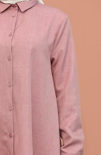 Düğme Detaylı Tunik Pantolon İkili Takım 1417-09 Gül Kurusu