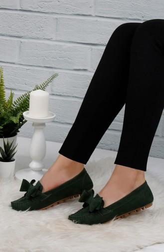 Velvet Flat Shoe 0104-07 Green 0104-07