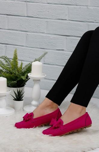 Velvet Flat Shoe 0104-14 Fuchsia 0104-14