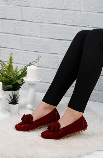 حذاء مسطح أحمر كلاريت 0104-01
