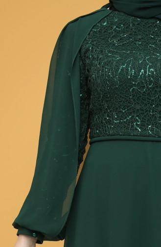 Pullu Abiye Elbise 4861-03 Zümrüt Yeşili 4861-03