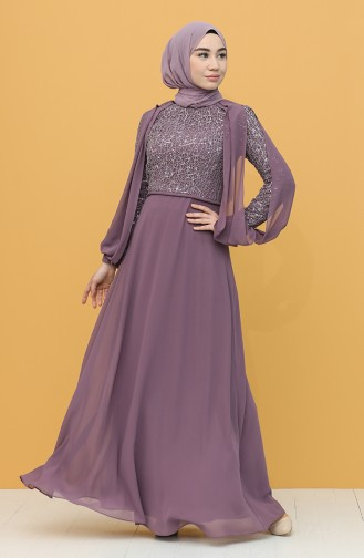 Dusty Rose Hijab Evening Dress 4861-04
