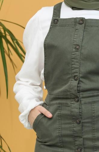 Düğmeli Salopet Elbise 3625-02 Haki 3625-02