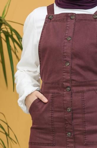 Düğmeli Salopet Elbise 3625-03 Mürdüm 3625-03