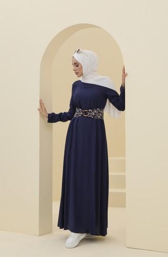 Kemerli Elbise 8325-02 Lacivert