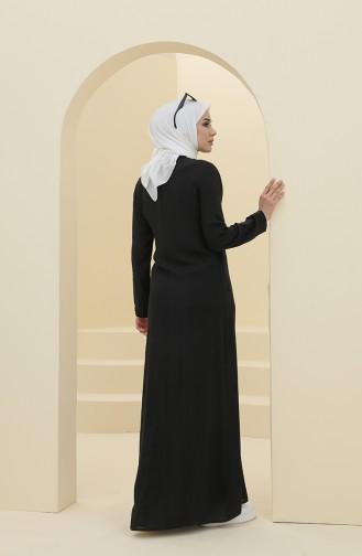Büzgülü Elbise 8316-02 Siyah
