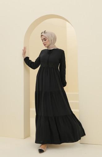 Black Hijab Dress 8326-02