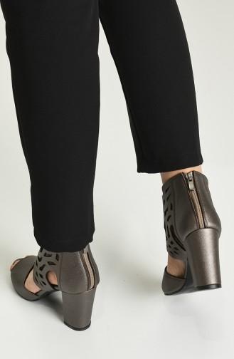 Bayan Topuklu Ayakkabı Y11-12-05 Platin Prada
