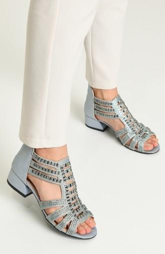 Bayan Topuklu Sandalet Y5-10-01 Mavi Sim