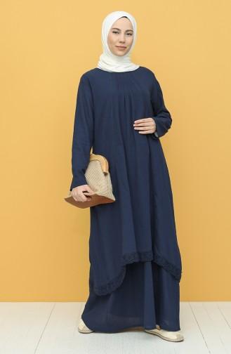 Dunkelblau Hijap Kleider 42201-04