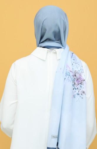 Karaca Desenli Soft Şal 90789-03 Lacivert Buz Mavisi 90789-03