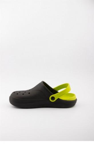 Black Summer slippers 3474.MM SİYAH-FISTIK YEŞİL