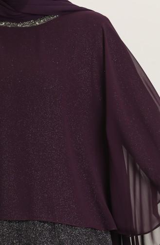 Purple Hijab Evening Dress 4266-03