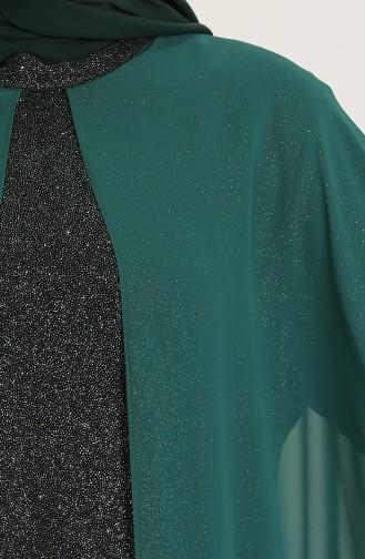 فساتين سهرة بتصميم اسلامي أخضر زمردي 4274-02