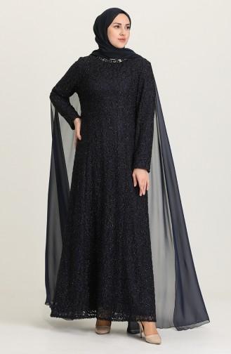Navy Blue Hijab Evening Dress 4280-02