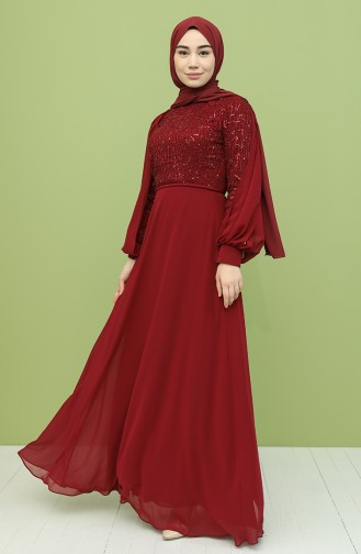 Claret Red Hijab Evening Dress 4861-01