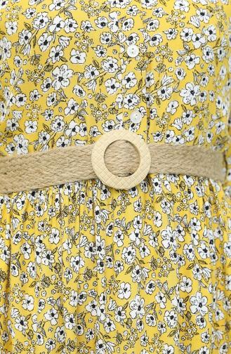 Kemerli Desenli Elbise 2159-02 Sarı