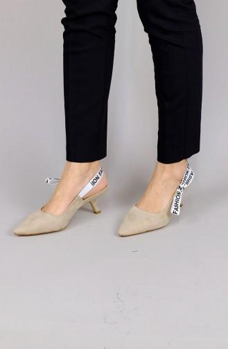 Violet Kadın Süet Topuklu Ayakkabı Zn2121Mr 07 Bej