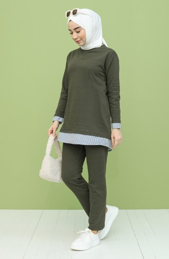 Garnili Tunik Pantolon İkili Takım 2360-05 Haki
