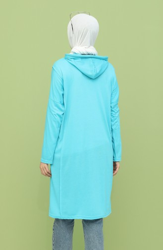 Cepli Uzun Pamuklu Sweatshirt 8130-01 Turkuaz 8130-01