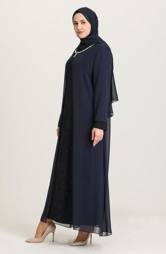 Büyük Beden Simli Abiye Elbise 4264-01 Lacivert 4264-01