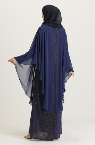 Saxe Hijab Evening Dress 4274-03