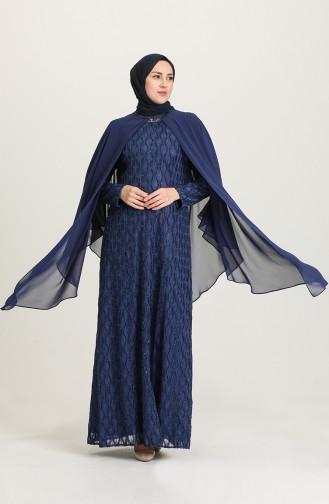 Light Navy Blue Hijab Evening Dress 4276-01