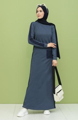 Garnili Cepli Elbise 3262-09 İndigo Açık Lacivert
