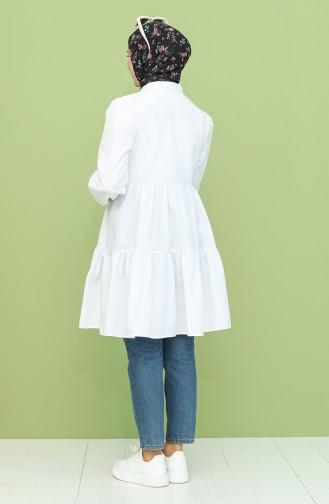 Düğmeli Büzgülü Tunik 1244-05 Beyaz
