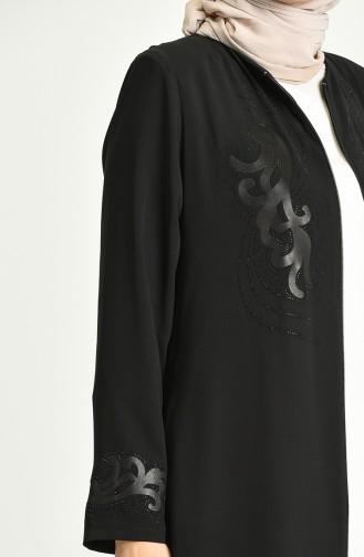 Büyük Beden Taş Baskılı Ferace 1580A-04 Siyah 1580A-04