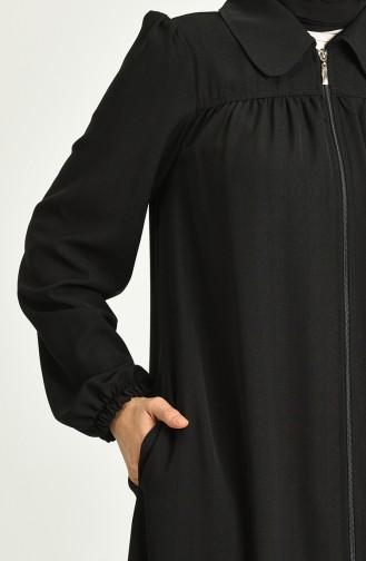 Büzgülü Fermuarlı Ferace 6886-01 Siyah