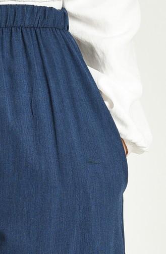 Viskon Nakışlı Pantolon 8080-03 Lacivert