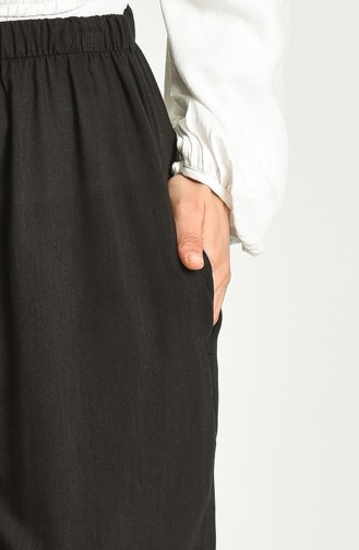 Viskon Nakışlı Pantolon 8080-04 Siyah