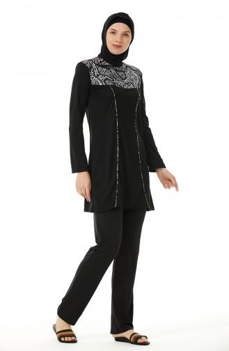 Schwarz Hijab Badeanzug 02109-01