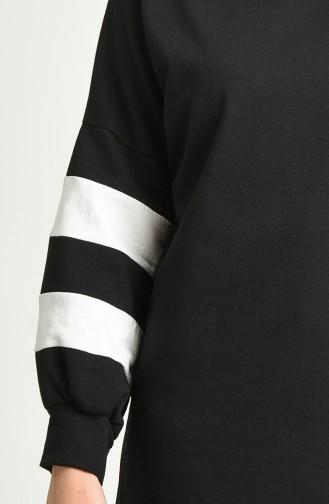 Şeritli Spor Tunik 1006-02 Siyah