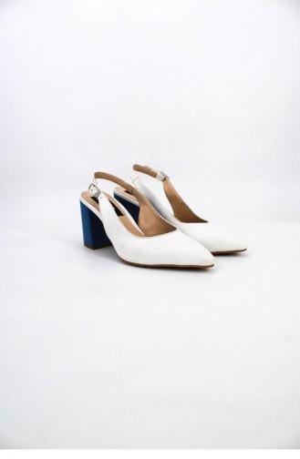 Arkası Açık Blume Topuklu Ayakkabı Brlerz00712 Pudramavı