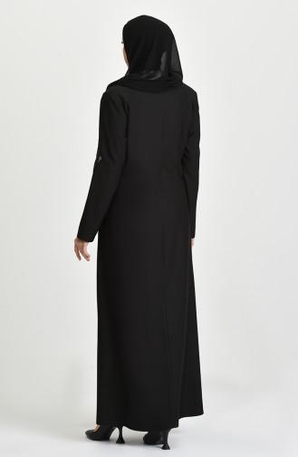 Büyük Beden Fermuarlı Ferace 1592-01 Siyah