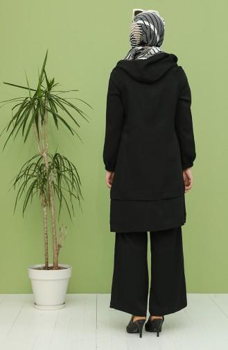 Kapüşonlu Tunik Pantolon İkili Takım 2440-01 Siyah