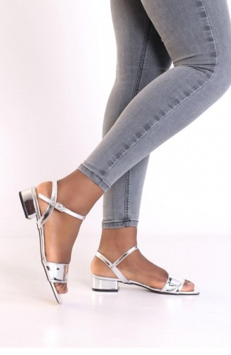 Tek Bant Topuklu Sandalet Brlerz00615 Gumus