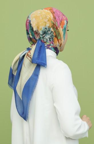 Desenli Pamuk Eşarp 3025DP-22 Saks Açık Bej 3025DP-22