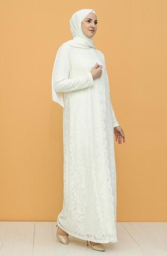 Ecru Hijab Evening Dress 6004-05