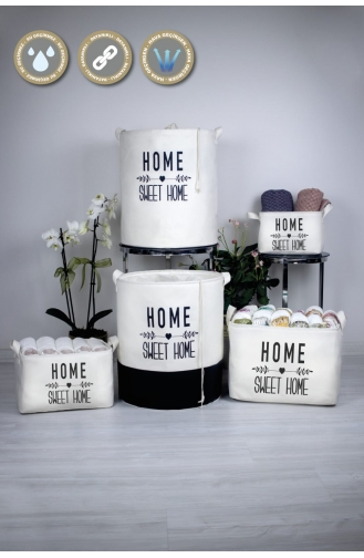 Rope Home Beyaz Home Sweet Home Dikdörtgen Sepet 18x22x30 48-01 Beyaz 48-01