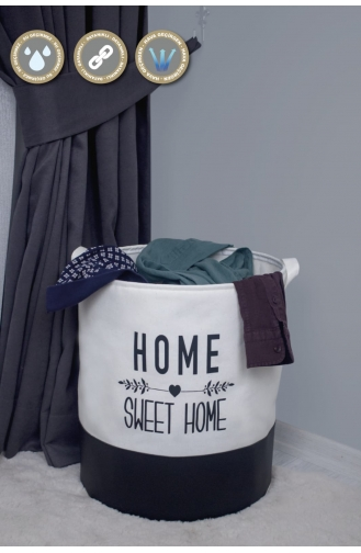 Rope Home Beyaz Renk Altı Derili Home Sweet Home Baskılı Sepet 37x42 2-01 Beyaz 2-01